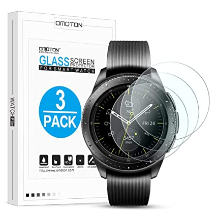 OMOTON [3 Pack] Screen Protector for Samsung Galaxy Watch 42mm / Gear S2 / Gear Sport - Tempered Glass/Bubble Free/Scratch Resistant