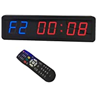 LED Programmable Crossfit Interval Timer Wall Clock w/Remote for Tabata Fitness 1.8inch