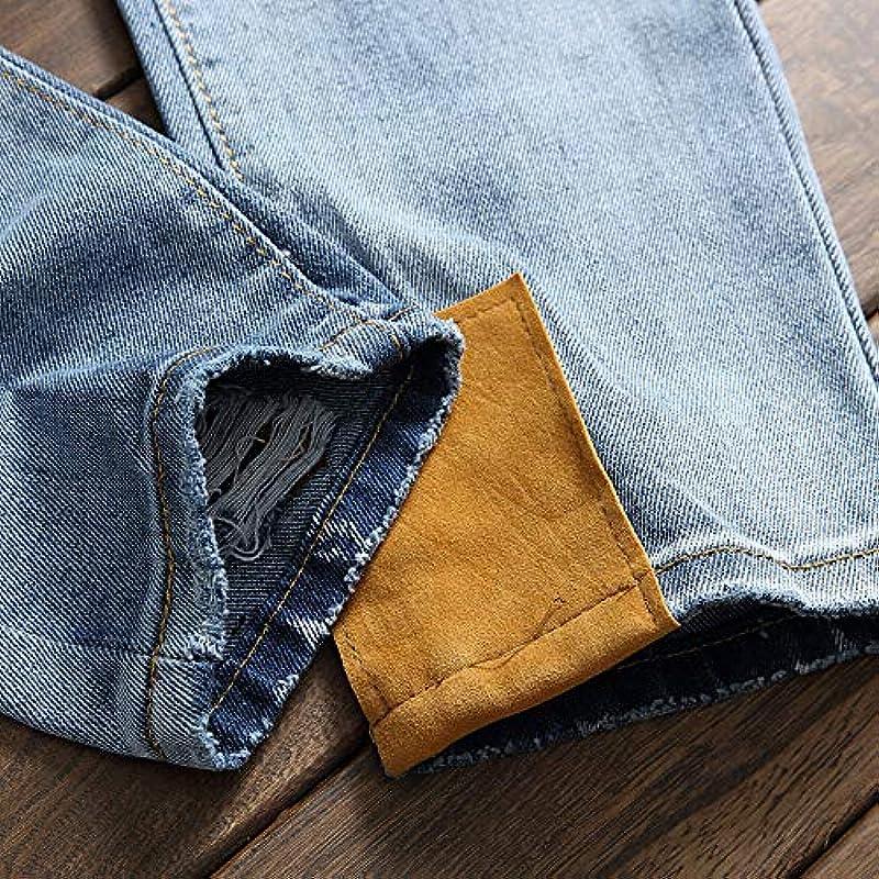 Męskie spodnie dżinsy z dziurką z dziurką: Odzież