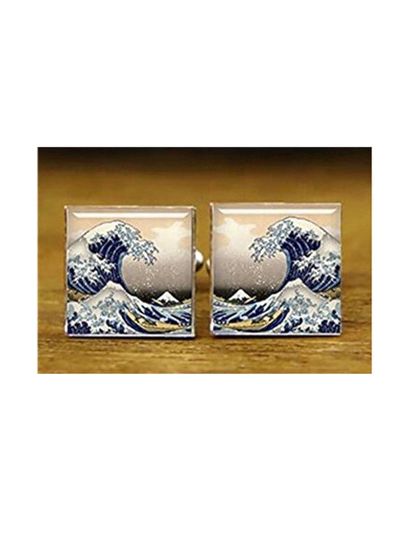 Excellent Kanagawa Wave Boutons de manchette, personnalisé Mariage carré Boutons de manchette Forever family ce67