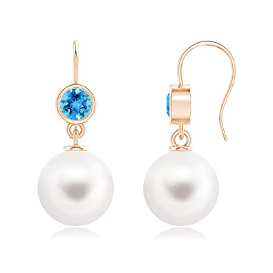 4032ada4d Amazon.com: Freshwater Cultured Pearl Earrings with Swiss Blue Topaz in 14K  Rose Gold (12mm Freshwater Cultured Pearl): Jewelry