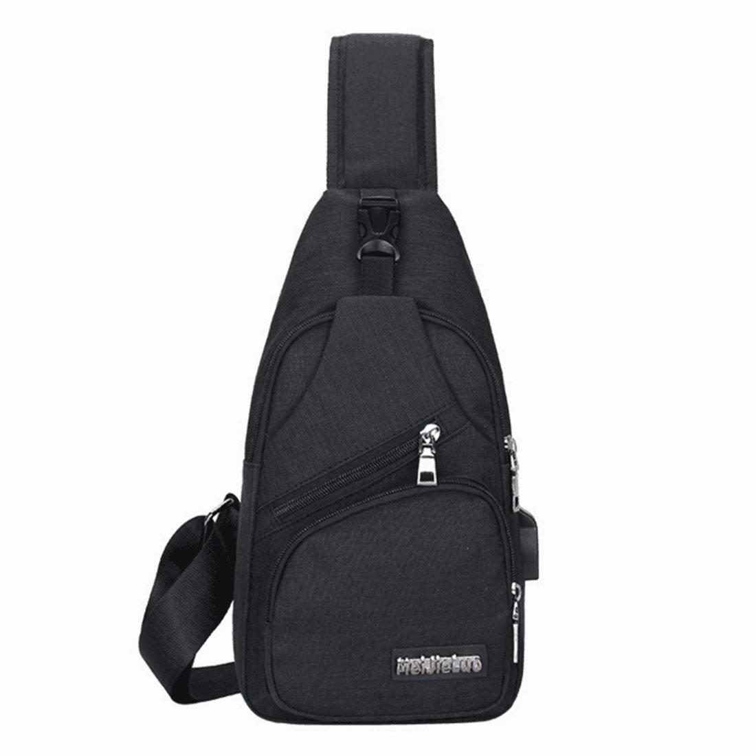 RABILTY Sling Bag Color : Light Grey Chest Pack Crossbody Lightweight with USB Charging Port Shoulder Bag for Men Women Travel Outdoors Boys Girls