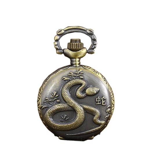 Relojes de bolsillo antiguos con collar de reloj de bolsillo de la serpiente del zodiaco de