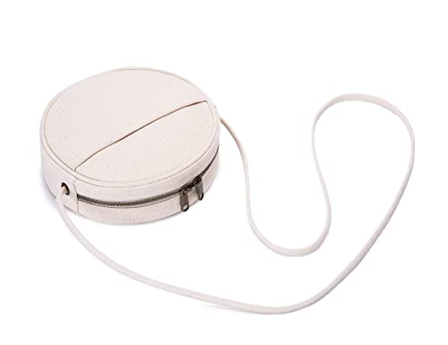 730a3a2687 Beige Mini Round Shape Crossbody Bags Cute Simply Stylish Girls Women  Circle Circular Purse Cellphone Crossbody