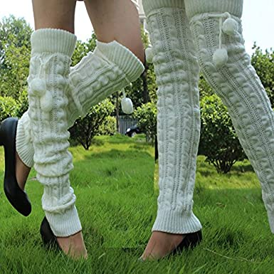 AStorePlus Leg Warmer Women Winter Babies Thick Cable Knit Thigh-High Hosiery Socks With Cycling Wholesale Soft Pompon