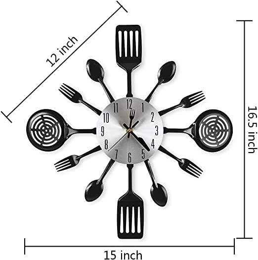 Cigera 16 Inch Large Kitchen Wall Clocks With Spoons And Forks Great Home Decor And Nice Gifts Black Amazon Co Uk Kitchen Home