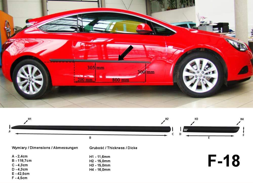 Spangenberg 370001808 - Listones Laterales para Opel Astra J GTC con portón Trasero de 3 Puertas (Modelos a Partir de enero de 2012), Color Negro: ...