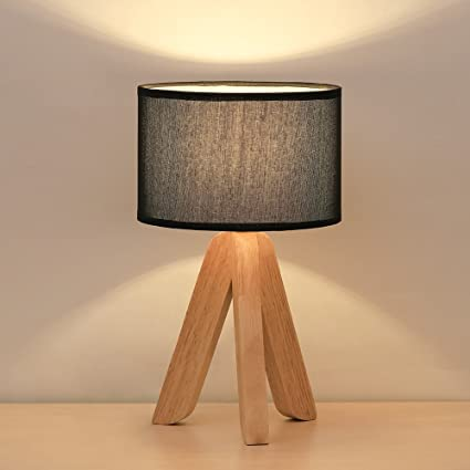 Mini Table Lamp Modern Lamps   HAITRAL Creative Desk Lamp With Fabric Shade  3 Legs Wood