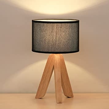 Haitral Small Table Lamp Creative Tripod Desk Lamp Wooden