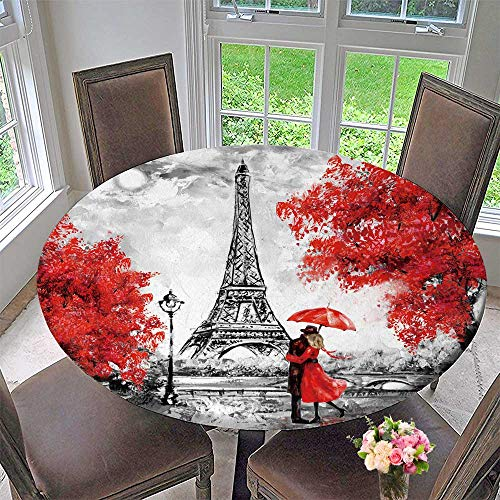 PINAFORE HOME Simple Modern Round Table Cloth Oil Paint Paris European City Landscape France Wallpaper Eiffel Tower for Daily use, Wedding, Restaurant 59