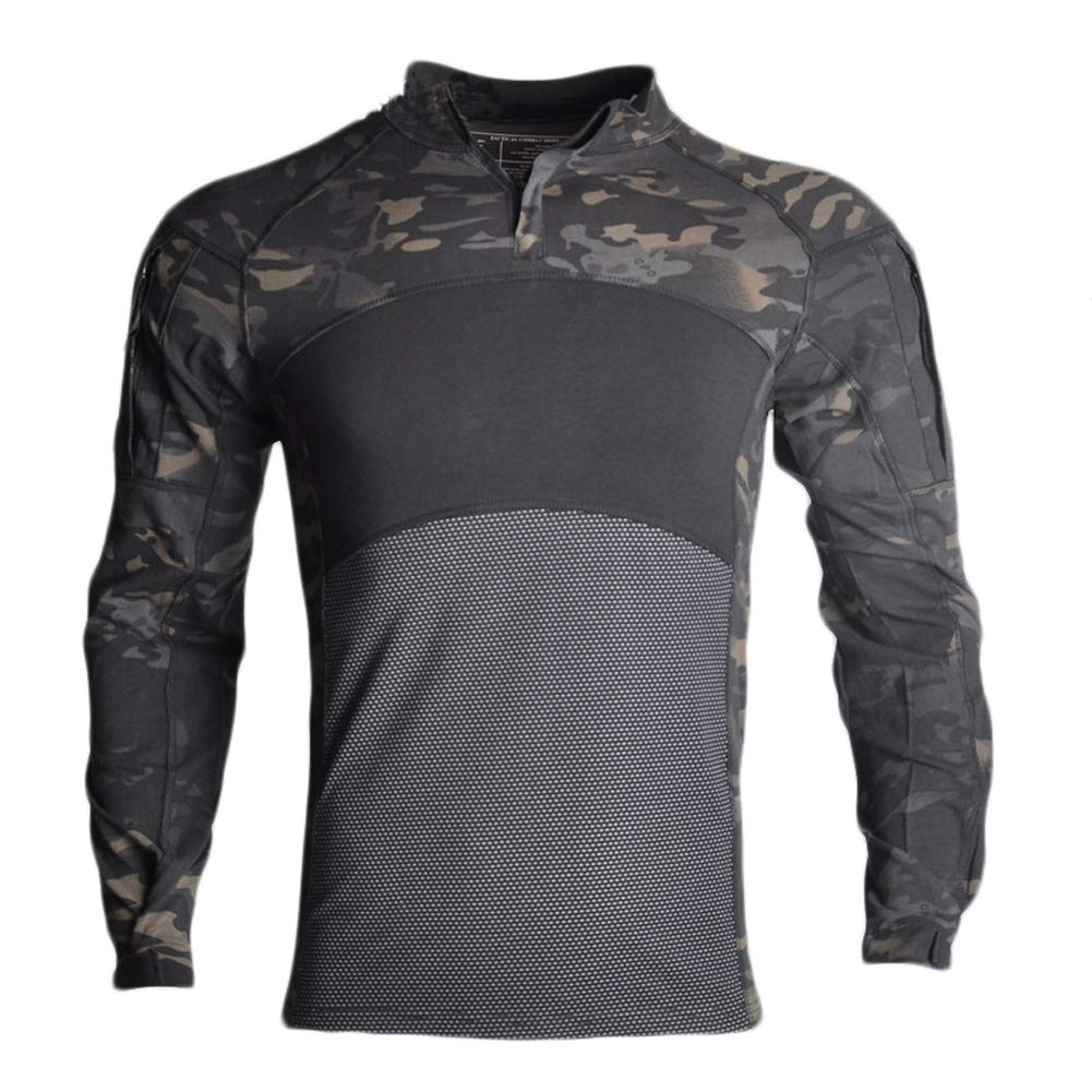 YOUNGFASHION Men's Slim Fit Combat Rapid Assault Shirt Tactical Airsoft Camo Long Sleeve Army T Shirts