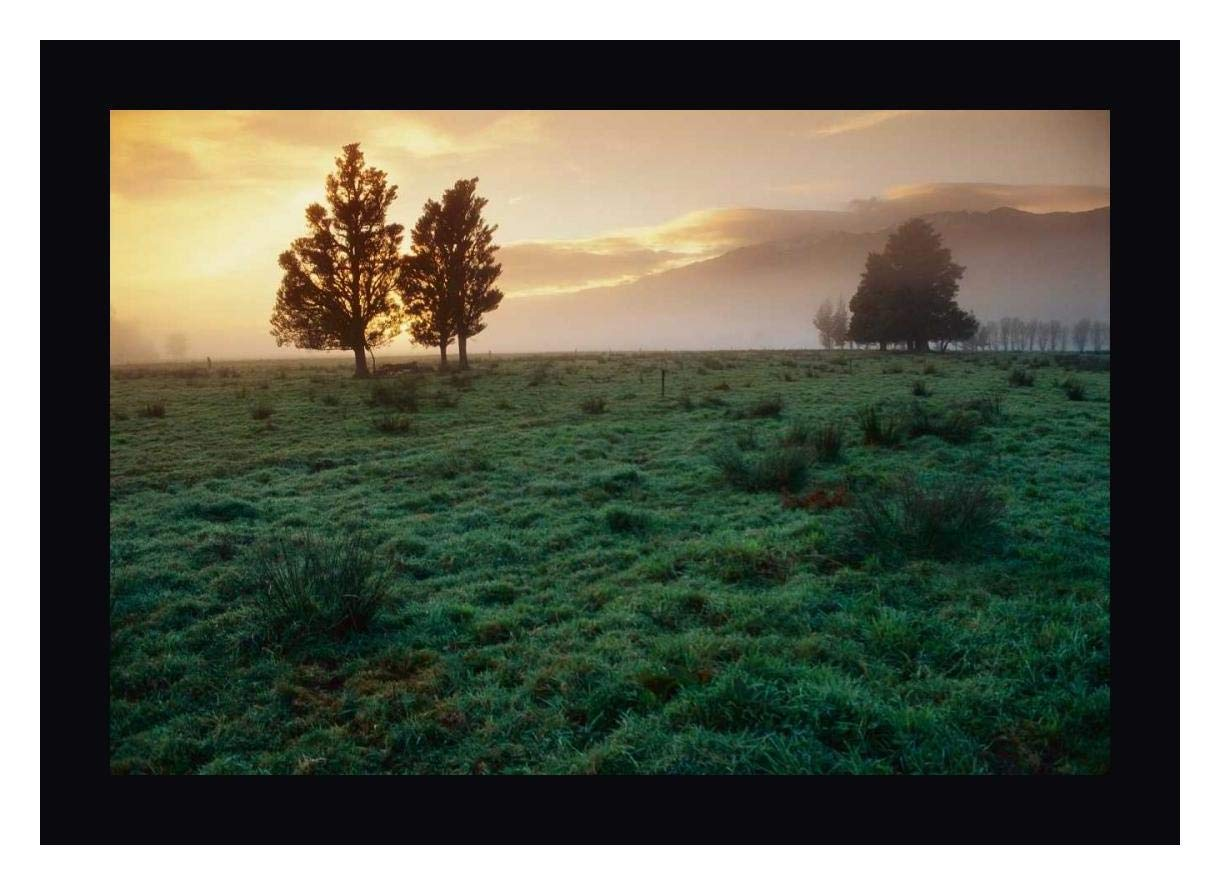 "Dawn Light Over South Island farmland, New Zealand by Andy Reisinger - 14"" x 19"" Black Framed Giclee Canvas Art Print - Ready to Hang"