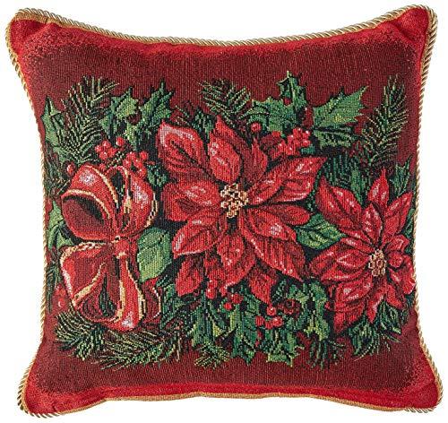 Violet Linen Decorative Christmas Poinsettias Design Tapestry Throw Pillow, 18 x 18,