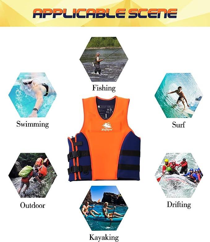 Orange pour Nautisme P/êche Drifting Surfing Gilet De Natation avec Poches Emeili Gilet De Natation Gilet De Flottaison Sports pour Hommes Femmes Vestes De S/écurit/é Professionnelles