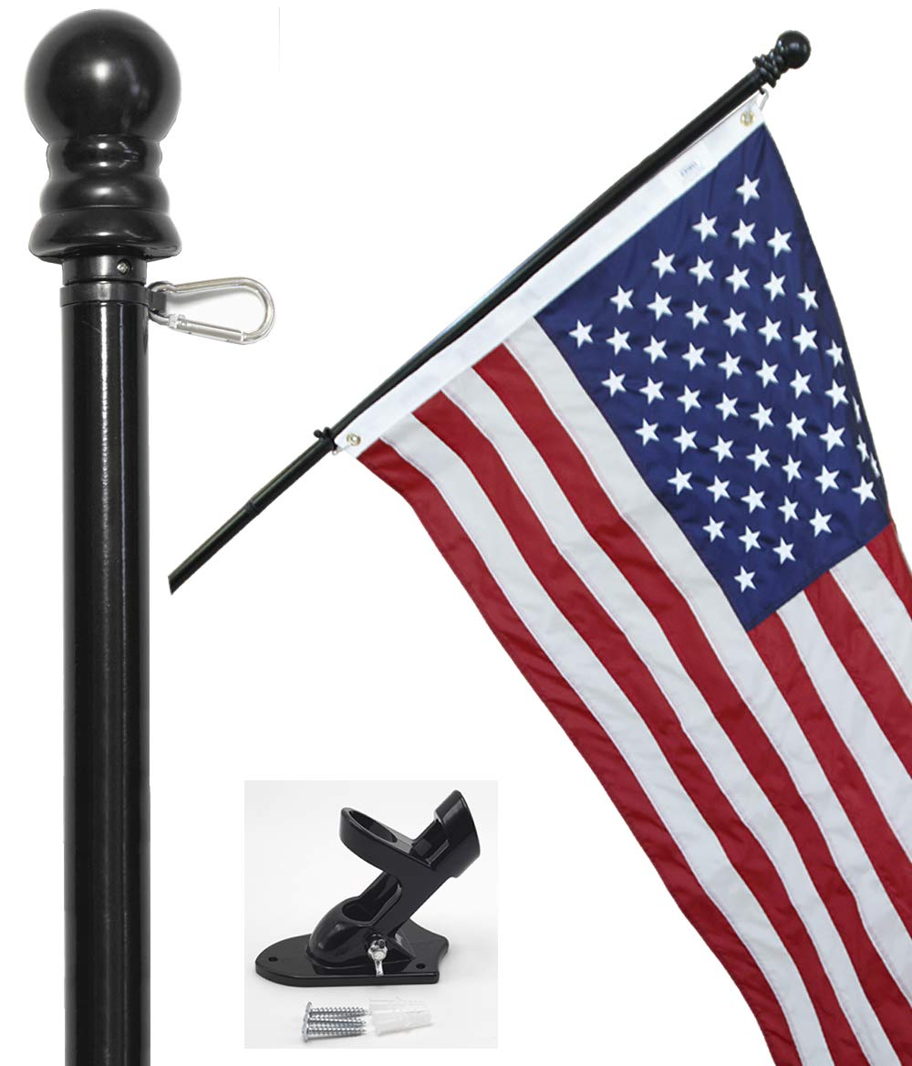 Flag Pole Kit - Includes 3x5 ft American Flag Made in USA, 6 Foot Tangle Free Flag Pole, and Flagpole Bracket (Black)