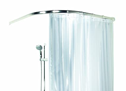 Spirella Ova Rondo Bright Finish Curved Corner Enclosure Aluminium Chrome Shower Curtain Rail Size 90