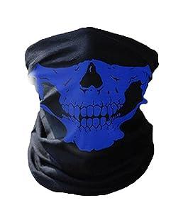 COMVIP Hombres Sin fisuras cráneo Impreso Las vendas abrigo de la bufanda del calentador del cuello de la máscara Circunferencia de la cabeza: 53-62cm Azul