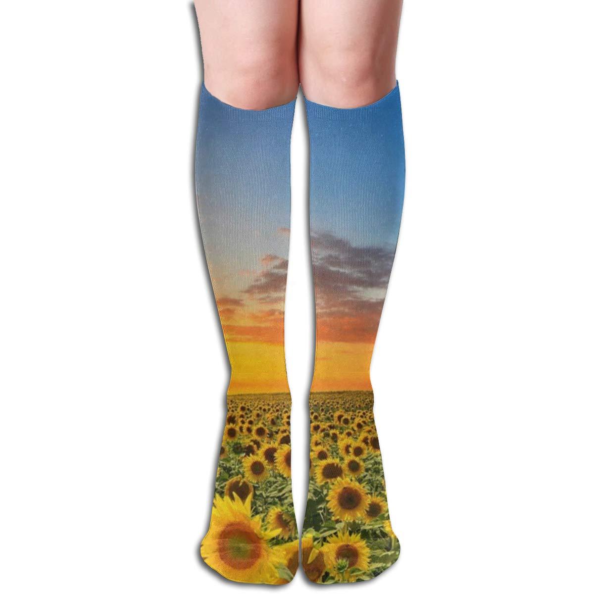 Women Socks Mid-Calf Sunflower Painting Winter Great For Decor