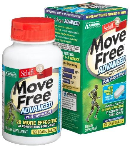 Move Free ® avancé comprimés enrobés, Plus 1500mg MSM, 120-Count Bottle