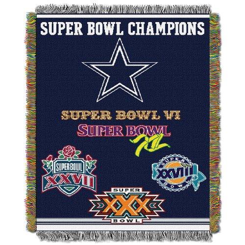 Amirshay, Inc. Dallas Cowboys NFL Super Bowl Commemorative Woven Tapestry Throw (48