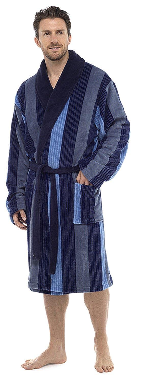 Foxbury Mens Classic Multi Stripe Supersoft Fleece Bathrobe MROBE-HT716
