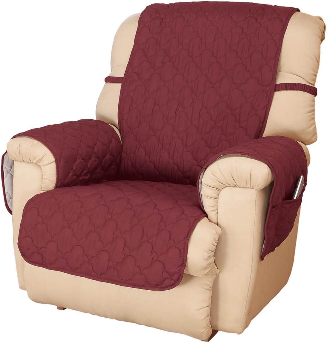 OakRidge Deluxe Microfiber Recliner Chair Cover, Burgundy