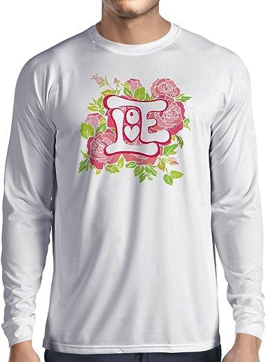 lepni.me Camiseta de Manga Larga para Hombre ¡Amor y Rosas! Camisa romántica