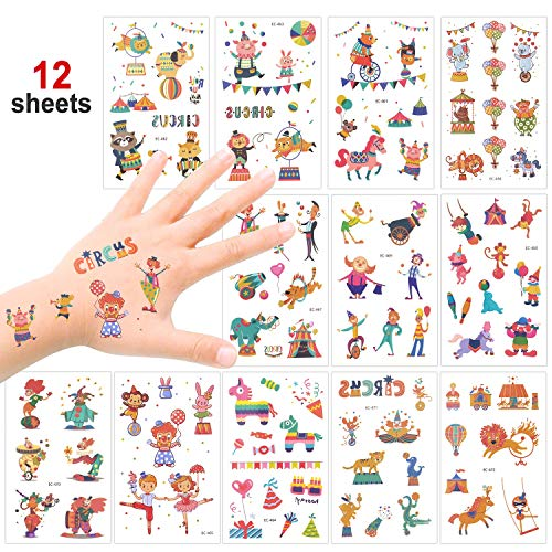 Konsait Kids Tattoos Big Top/Circus Temporary Tattoos Carnival Sticker for Boys Girls Children's Birthday Party Bag Filler Gift Idea Party Favors, 12 Sheets, 100+ Clown Animal Kids Tattoos]()