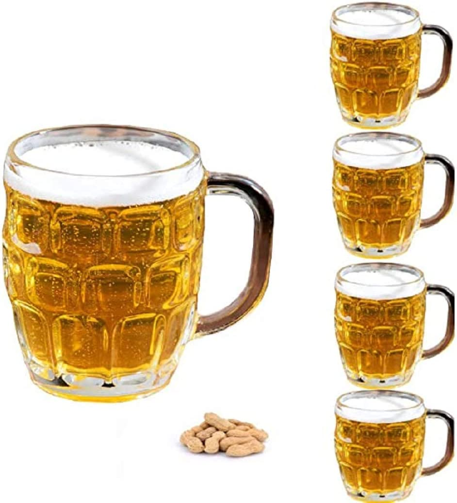4 Pack Glass Dimpled Stein Beer Mug with Large Handle - 19 oz. -Dishwasher Safe - For All Beverages (4, Dimpled Texture)