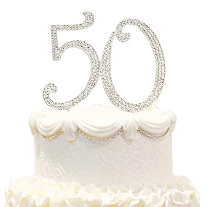 Hatcher Lee Bling Crystal 50 Birthday Cake Topper Best Keepsake 50th Party Decorations Silver