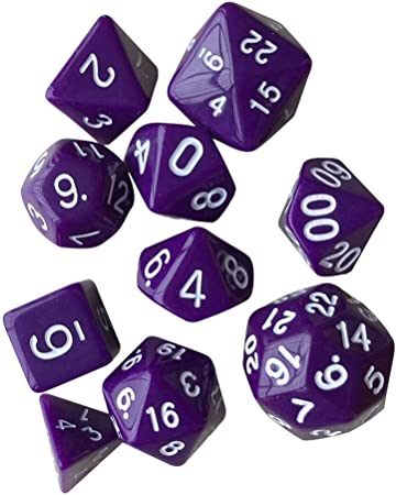 heresell Dados 10 Conjuntos polyédrique Juego de Dados con Piezas Fundas Negras, Dados Juegos de Role Dungeons & Dragons, Morado, A: Amazon.es: Hogar