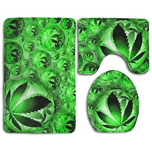 HOMESTORES Green Marijuana Leaf Weed Balls Skidproof Toilet