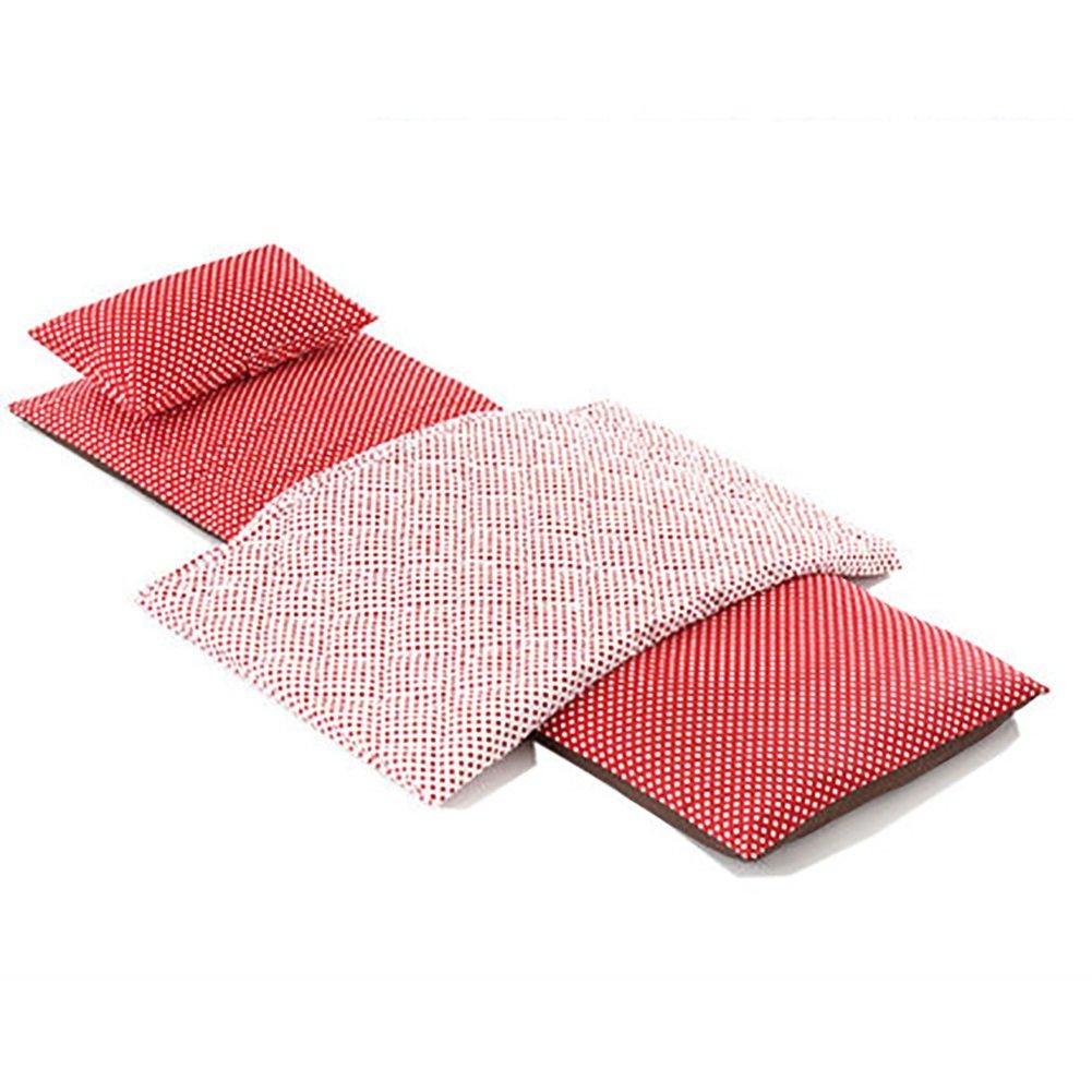 ZJM- Büro Faltbare Frühling Sommer Single Nap Matte Verdicken Tragbare Zelt Matte Outdoor Boden Feuchtigkeits Pad (Farbe   Rot, größe   A2)