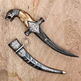 CraftVatika Vintage Damascened Dagger Mughal Indo Persian Antique Knife Sword Silver Work Antique Collectible