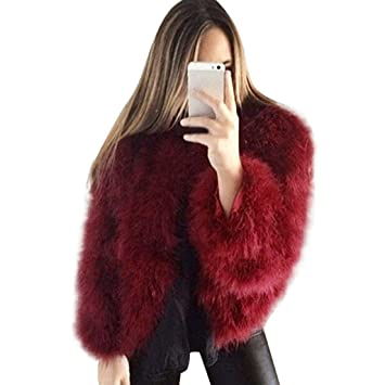 Honestyi Women Coat Jacket Women Faux Fur Ostrich Feather Soft Fur Coat  Jacket Fluffy Winter Xmax 29e9c1103