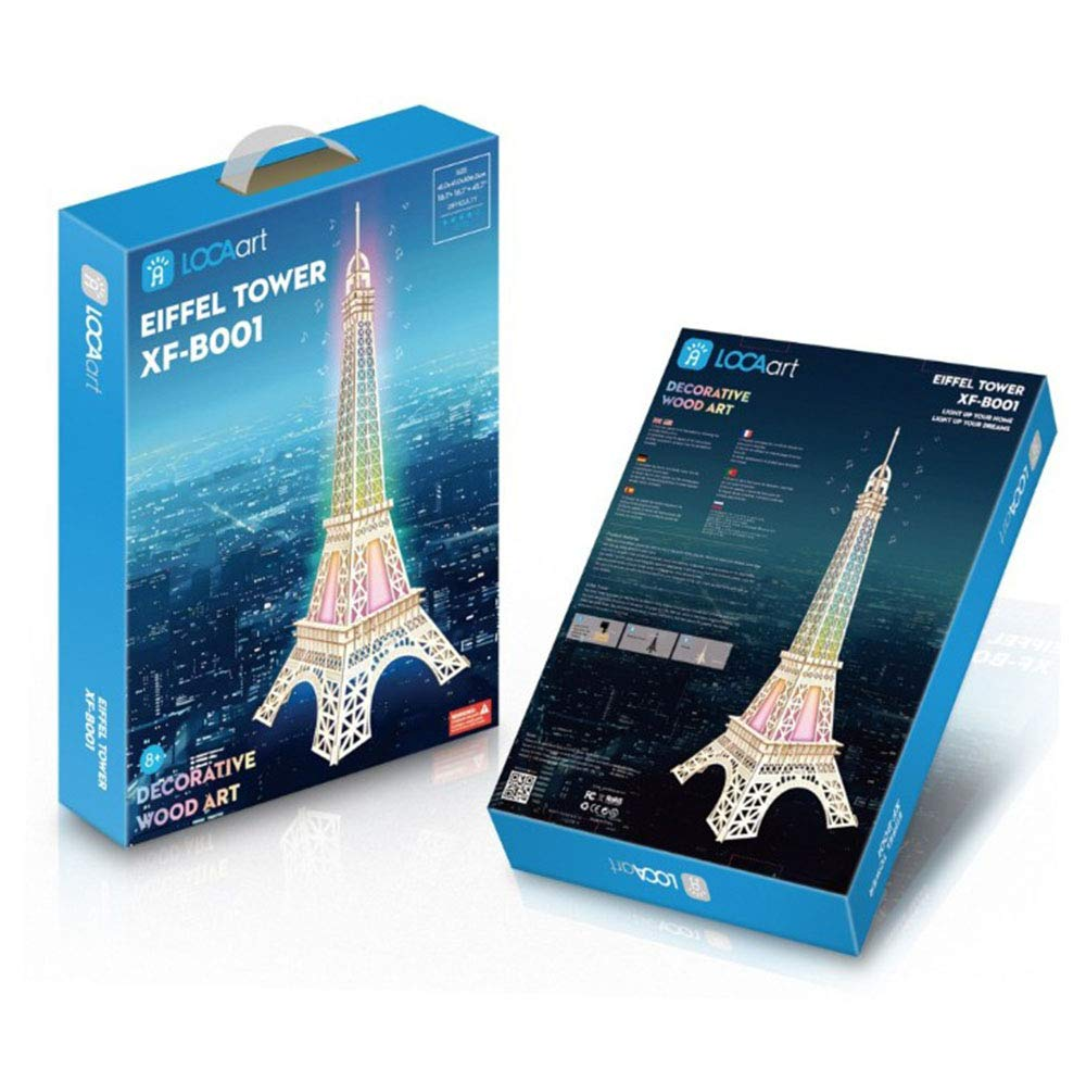 HWQ 3D Wooden Model Puzzle, Big Paris Tower, Farbeful Lights + Blautooth Speaker + Rechargeable Lithium Battery DIY Handmade Toys, Creative Gifts,A