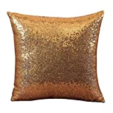 Mapletop Solid Sequins Mermaid Reversible Cafe Sofa Pillow Case 40x40cm (Yellow)