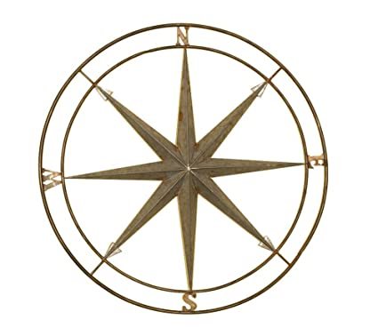 Silver And Copper Compass Wall Décor