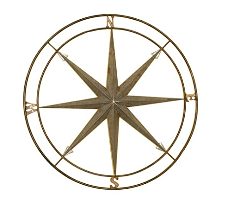 Superieur Silver And Copper Compass Wall Décor