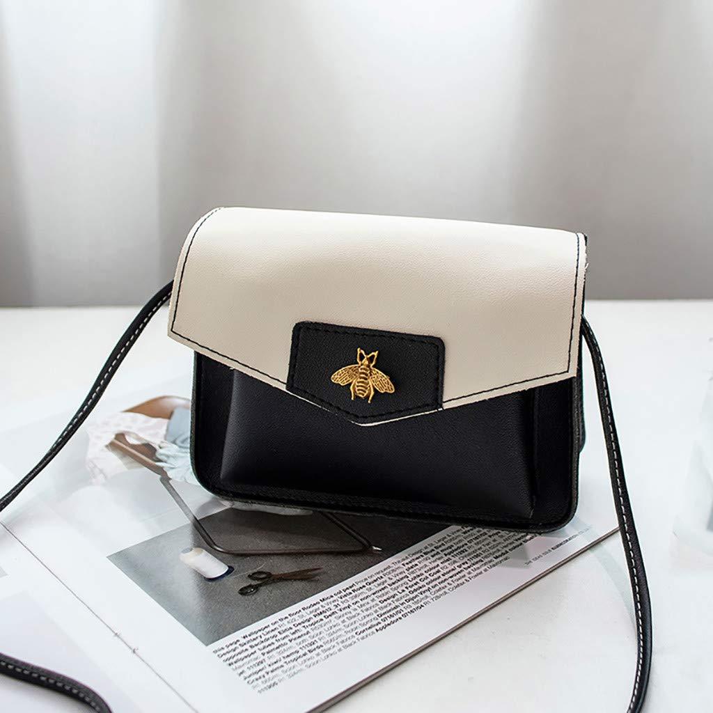 Amazon.com: Hunauoo Women Shoulder Bag Contrast Laminated ...