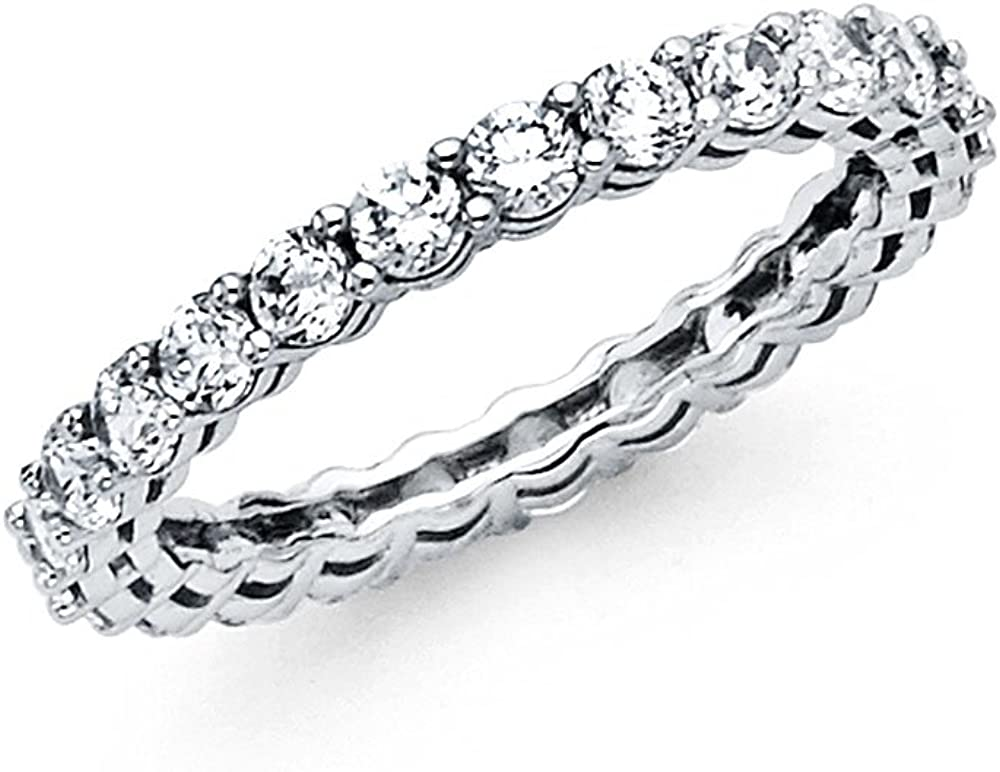 FB Jewels Solid 14K White or Yellow Gold Prong Channel Set 3//4 CTTW CZ Cubic Zirconia 2mm Eternity Anniversary Wedding Ring Band