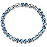 "LADY COLOUR [Gift Packing] Bracelet ""Ballad for Adeline"" Blue Tennis Bracelet Made with SWAROVSKI Crystals, ♥Valentine's Day Gift for Her ♥- Best Wishes!"