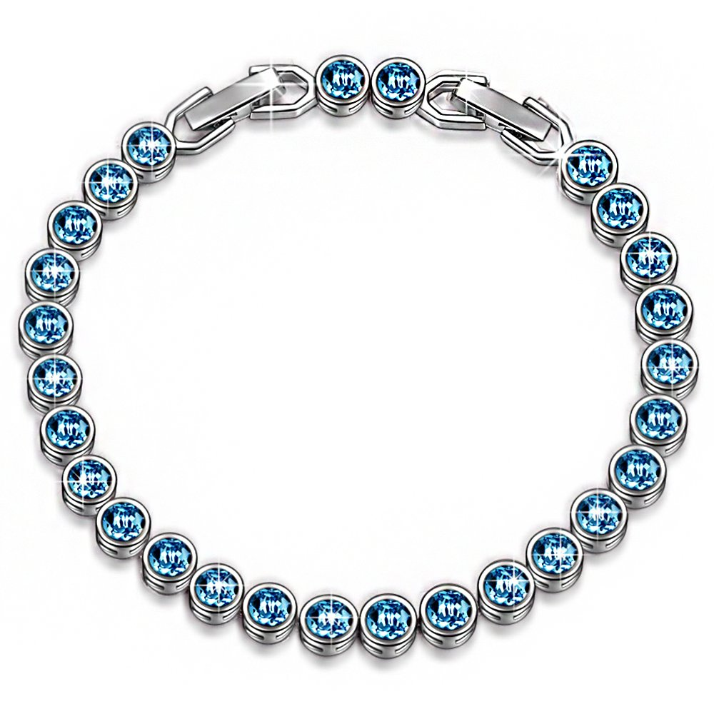 LADY COLOUR SALE Bracelet 30% Off Gifts for Women Aquamarine Blue Tennis Bracelet Swarovski Crystals Jewelry for Women Birthday Gifts for Her for Wife Gift for Teen Girls Wedding by LADY COLOUR