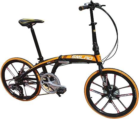 ANJING Bicicleta Plegable de 20 Pulgadas para Adultos, Engranajes Shimano de 6 Velocidades, Cuadro de Aleación de Aluminio Ligero, Bici Compacta Plegable con Neumático Antideslizante,Blackyellow: Amazon.es: Deportes y aire libre