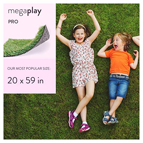 - MEGAGRASS Popular Size 20 x 59 Inches Play Pro - Indoor and Outdoor Artificial Grass and Synthetic Fake Turf Rug for Play Areas, Playground Mat Flooring, and Pets, 8 Square Ft