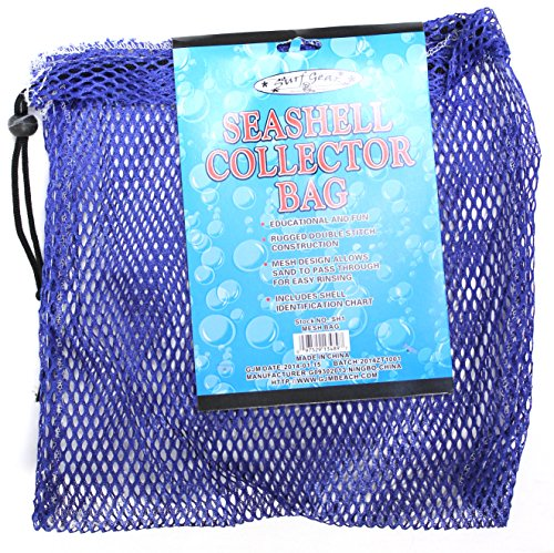 Mesh Seashell Collection Bag (12 x 12 inches) with Shell Identification Guide (Dark Blue)