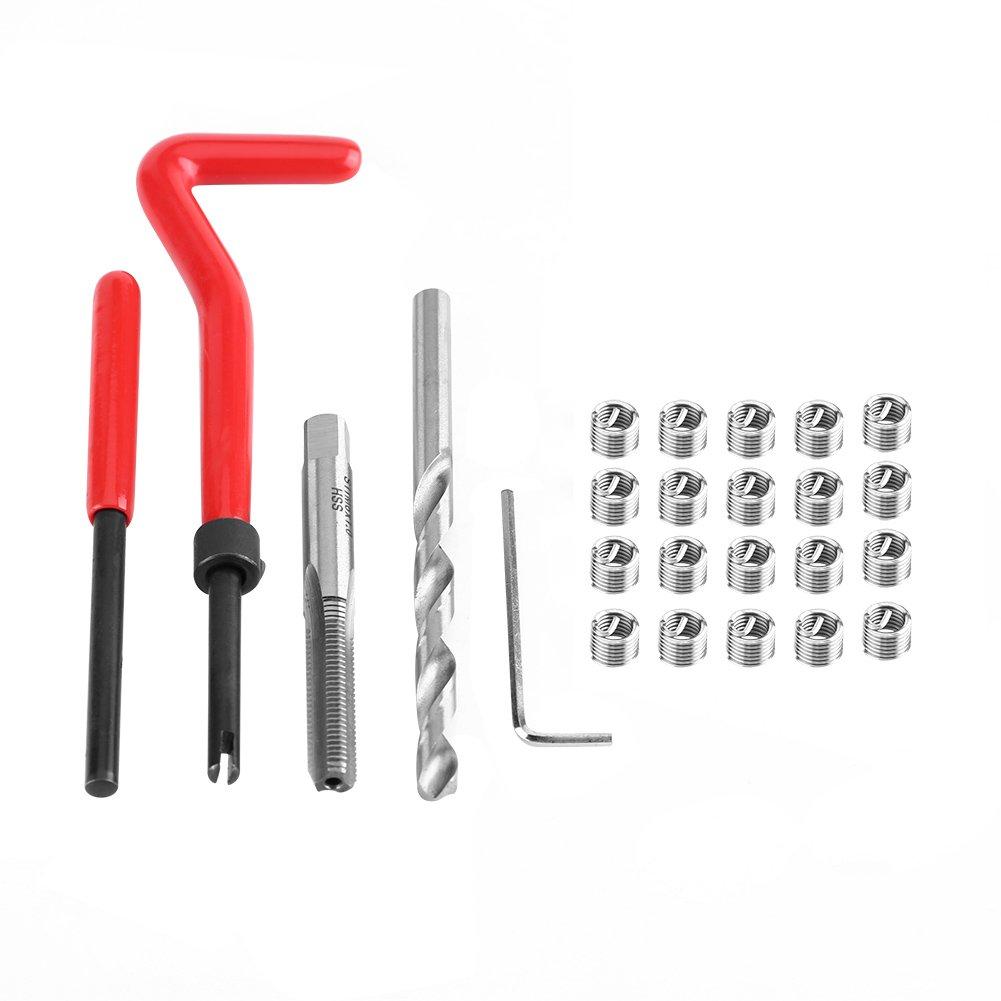 25pcs M6 × 1.0 × 8.0mm Helicoil Thread/ Rethread Repair Kit HSS Thread Compatible Hand Tool Set