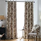 Jaoul Botanical Fern Leaves Linen Grommet Top Thermal Insulated Curtains Drapes for Living Room, 52 by 96, Beige/Brown(1 Panel)