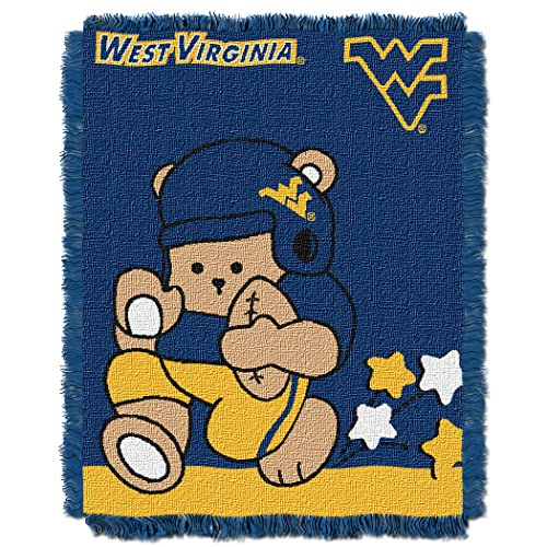 West Virginia Fringed - Officially Licensed NCAA West Virginia Mountaineers Fullback Woven Jacquard Baby Throw Blanket, 36