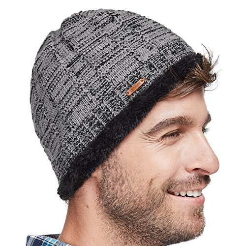 LETHMIK Unique Ribbed Knit Beanie Warm Thick Fleece Lined Hat Mens Winter Skull Cap